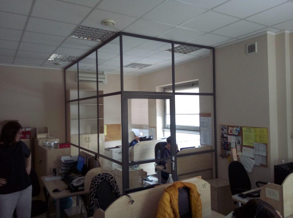 Ścianka industrialna szkło hartowane i aluminium